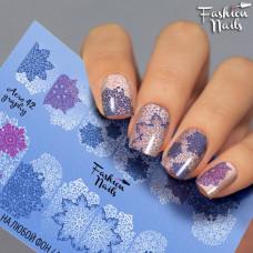 Зимний слайдер дизайн Cнежинки - Новогодние наклейки для ногтей арт.Aero42