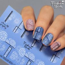 Зимний слайдер дизайн Cнежинки - Новогодние наклейки для ногтей арт.Aero45 Черно-белые слайдер дизайны