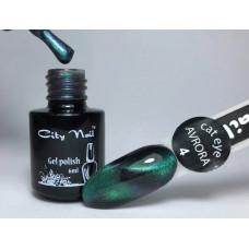 Зеленый бирюзовый изумрудный гель-лак Кошачий глаз Аврора cat eye AVRORA City Nail №4