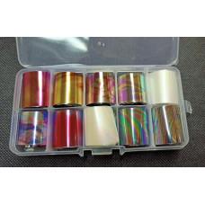 Разноцветная переводная фольга для ногтей в пластиковом боксе - набор фольги 10 штук - Фольга для литья набор