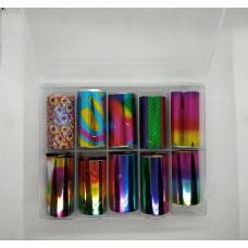 Маникюрный набор для дизайна ногтей - Радужная фольга для литья - набор 10 шт - Переводная Фольга для Маникюра