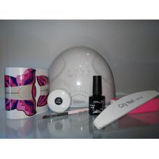 Стартовый набор для наращивания ногтей гелем City Nail с лампой