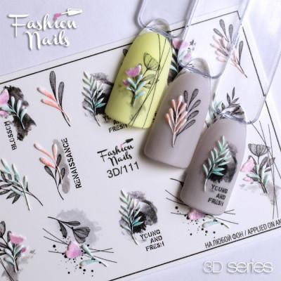 3D наклейка на ногти Растения, мелкие цветы, листочки - Слайдер-дизайн ЦВЕТЫ арт.3D/111