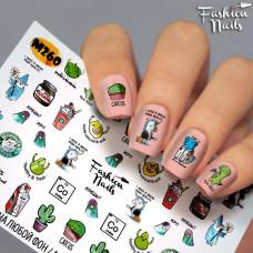 Водный Слайдер -дизайн для ногтей Надписи , Кактус, Напитки, Еда, Единорог