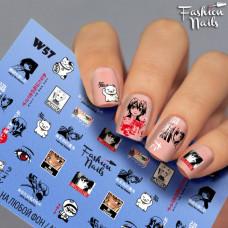 Водные наклейки для ногтей - Слайдеры для ногтей Fashion Nails Котик, Глаза, Лица, Мультяшки, Аниме W57