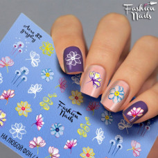Водные наклейки для ногтей ( Слайдер-дизайн для ногтей ) Fashion nails - разноцветные цветы