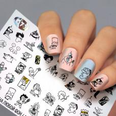 Водные наклейки для ногтей Симпсоны ( Слайдер дизайн для ногтей ) Fashion Nails G73