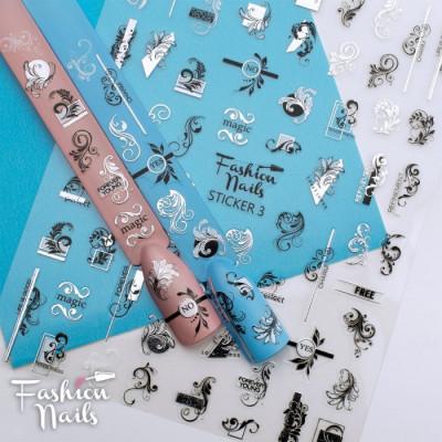 Стикер для ногтей STICKER 3 Fashion Nails Вензеля Узоры Кружева разм.9*12 см - Самоклеющиеся наклейки на ногти
