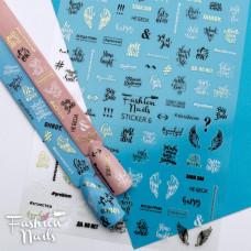 Стикер для ногтей STICKER6 Fashion Nails - Наклейки на ногти надписи - Черно-белые слайдер дизайны самоклейки