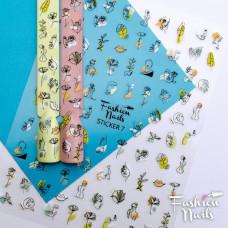 Стикер для ногтей STICKER 7 Fashion Nails 9*12см Наклейки для ногтей самоклейки Слайдеры для ногтей Лица Цветы