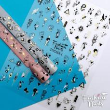 Стикер для ногтей STICKER 4Fashion Nailна клейкой основе - Черно-белые слайдеры Геометрия на липкой основе