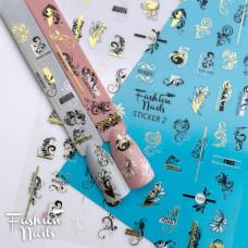 Стикер для ногтей STICKER 2 Fashion Nails Вензеля Узоры Кружева разм.9*12 см - Самоклеющиеся наклейки на ногти