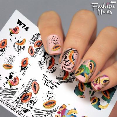 Наклейки водные для ногтей Фрукты Папайя Fashion Nails - Слайдеры водные наклейки ФРУКТЫ Экзотические