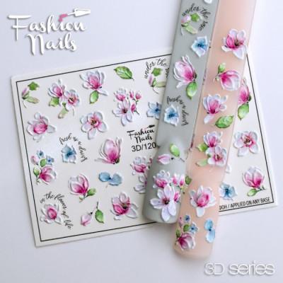 3D наклейки для дизайна ногтей Fashion Nails - Слайдер дизайн 3D Цветочки - Слайдеры водные наклейки ЦВЕТЫ