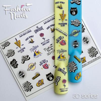 3D наклейки для дизайна ногтей LOVE Роза Пицца - Объёмные Наклейки на ногти надписи - Слайдер дизайн надписи