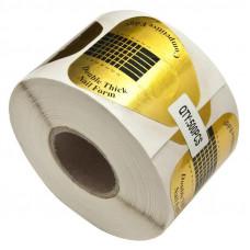 Одноразовые Бумажные Формы для Наращивания Ногтей Прямые Золотого Цвета на Клейкой Основе Двойная Толщина 100ш