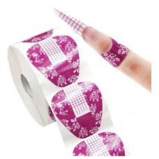 Розовые формы для наращивания ногтей в рулоне 50шт - Формы для Наращивания Ногтей Широкие Прямые Розовые Цветы
