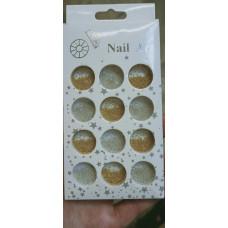 Бульонки для ногтей микс золото серебро - Металлические бульонки для дизайна ногтей