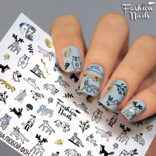 Декор ногтей Слайдер-дизайн Животные - наклейки на ногти слайдеры для маникюра водные Fashion Nails G79