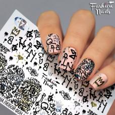 Декор ногтей Слайдер-дизайн Иероглифы - наклейки для дизайна ногтей  для маникюра водные Fashion Nails G78
