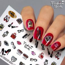 Декор ногтей Слайдер-дизайн Туфли Помада Очки Губки - наклейки на ногти для маникюра водные Fashion Nails G78