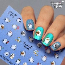Декор ногтей Слайдеры Водные Наклейки КОШКИ для дизайна ногтей для маникюра водные Fashion Nails aero29
