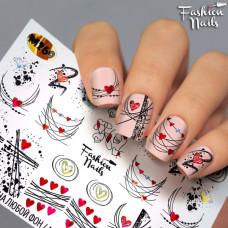 Декор ногтей Слайдеры Водные Наклейки СЕРДЕЧКИ Абстракция Линии - Слайдер-дизайн для ногтей Fashion Nails М269