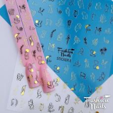 Декор ногтей Наклейки для ногтей 9*12см - Стикер для дизайна ногтей на липкой основе STICKER 8 Fashion Nails