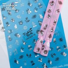 Новогодние Наклейки для ногтей 9*12см - Стикер для дизайна ногтей на липкой основе STICKER 14 Fashion Nails