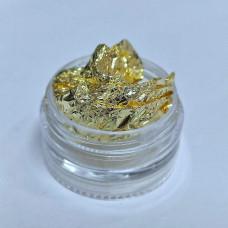 Фольга жатая, Сусальное золото для дизайна ногтей в баночке - Фольга Жатка Поталь