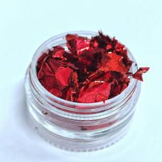 Фольга жатая красная для декора ногтей - Сусальное золото для дизайна ногтей - Поталь для ногтей Фольга жатая