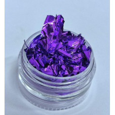 Жатая фольга для дизайна ногтей фиолетовая - Сусальное золото для декора ногтей Поталь для ногтей фольга жатая