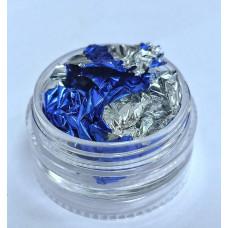 Жатая фольга для дизайна ногтей синяя - Сусальное золото для декора ногтей - Поталь для ногтей фольга жатая