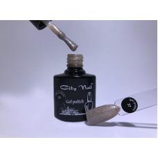 Бежевый Гель Лак с Блестками № 37 - Темно бежевый гель лак для ногтей с мерцанием блестками микроблеском 10