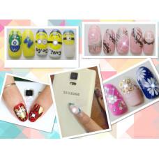 Светодиодная Наклейка для ногтей NFC 1 штука с мигающим красным светодиодным фонарем - декор для ногтей Белый