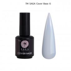 Cover Base Saga камуфлирующая база для ногтей, 15 мл бледно голубая Камуфлирующая База Saga Elastic ,15 мл №6