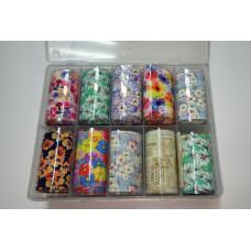 Фольга для дизайна ногтей цветы, набор 10 штук - Наборы для дизайна ногтей декор Переводная фольга