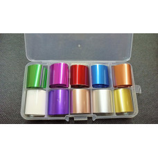 Подарок для Мастера Маникюра Фольга для литья переводная в контейнере, набор 10шт. - набор для дизайна ногтей Цветная