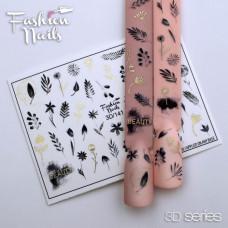 3D наклейка на ногти Растения, мелкие цветы Объемный Слайдер-дизайн ЦВЕТЫ 3d Слайдеры водные наклейки  3D/141
