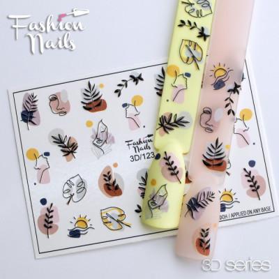 Слайдер-дизайн 3D водные цветные наклейки для дизайна ногтей Листочки для маникюра Fashion Nails 3D/123