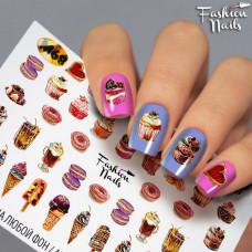 Водные Наклейки для ногтей ПИРОЖНЫЕ Пончики Слайдер-дизайн Мороженое для маникюра Fashion Nails G68