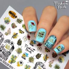 Водные наклейки для ногтей Листочки Растения Слайдер дизайн Надписи для маникюра Fashion Nails М259