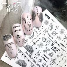 Слайдер дизайн ловец снов Эзотерика Мистика - Водные наклейки для ногтей Fashion Nails W82 для маникюра