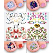 Слайдер-дизайн для педикюра ЦВЕТЫ Бабочки Стрекоза - Наклейки на Ногти для Педикюра Fashion Nails Р6