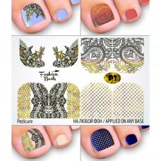 Слайдер-дизайн для педикюра Вензеля Узоры Стрекоза - Наклейки на Ногти для Педикюра Fashion Nails Р6