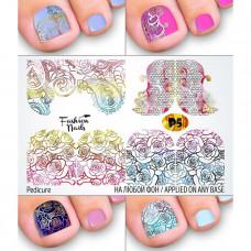 Слайдер-дизайн для педикюра Вензеля Розы - Наклейки на Ногти для Педикюра Fashion Nails Р5