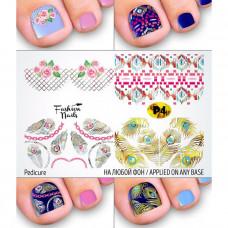 Слайдер-дизайн для педикюра Цветы Розы - Наклейки на Ногти для Педикюра Перья Орнамент Fashion Nails Р4