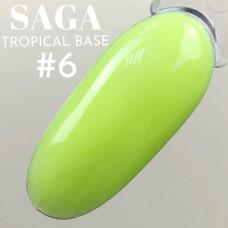 Камуфлирующая цветная база для ногтей Цвета Лайм, желто-зеленый Неон для маникюра SAGA tropical BASE