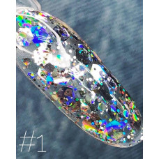 Гель-лак Saga Galaxy Glitter № 1 (8 мл) - Глиттерный гель с разноцветными блестками для дизайна ногтей