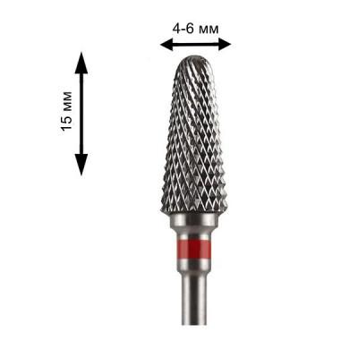 Фреза твердосплавная для снятия гель лака кукуруза (красная насечка) ТВС Фрезы для Снятия Гель Лака для ногтей